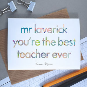 Best Teacher Ever | Personalised Thank You Card - what's new