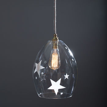 Clear Glass Pendant Jules Light With Etched Stars