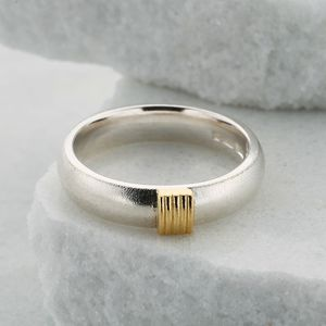 Slim Silver Ring With Five Gold Strand Detail - rings