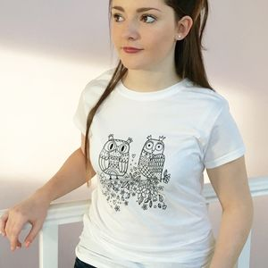 Colouring In Ladies Owl T Shirt