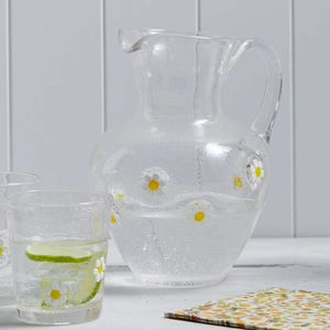 Daisy Glass Jug - ribbon & wrap