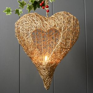 Gold Wire Heart Lantern - christmas decorations