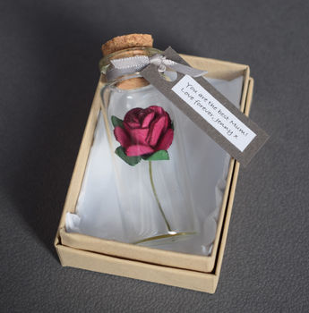 Miniature Personalised Paper Tea Rose Gift