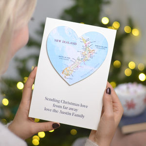Personalised Map Wedding And Anniversary Heart Card - new home cards