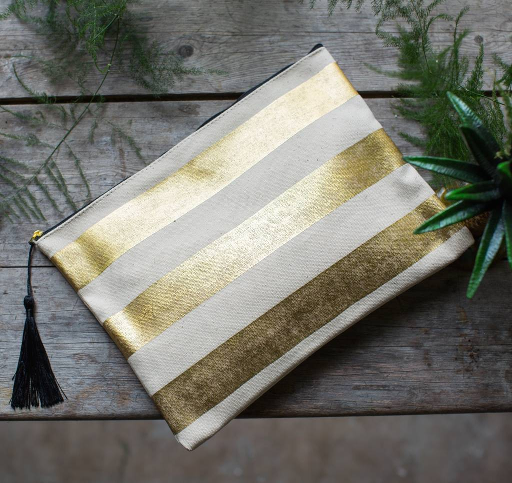 Personalised Gold Striped Or Dot Canvas Wash Bag