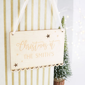 Personalised Christmas Decoration Wooden Sign