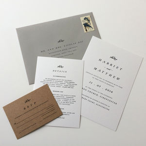 White And Kraft Wedding Invitations