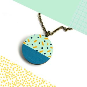 Polka Dot And Stripe Wooden Circle Necklace