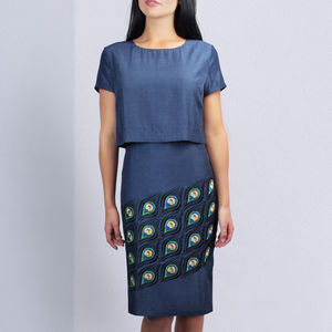 Peacock Embroidery Dress - women's fashion