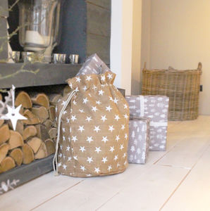 Luxury Traditional Christmas Sack With Star Print - christmas sale
