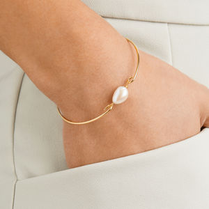 Silver Or Gold Large Single Pearl Bangle - shoreline wedding trend