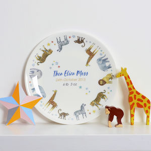 Personalised Trip To The Zoo Christening Plate - pictures & prints for children