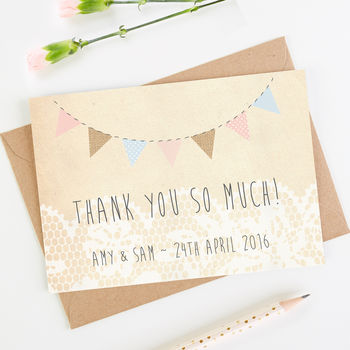 Burlap Bunting And Lace Thank You Card
