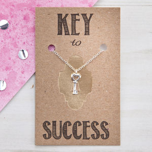 Key To Success Sterling Silver And Rose Gold Necklace - exam congratulations gifts