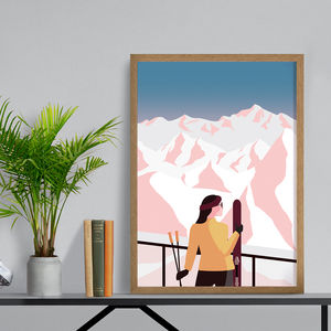 Skier In The Mountains Winter Wall Art