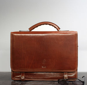 Personalised Mens Leather Satchel. 'The Battista'