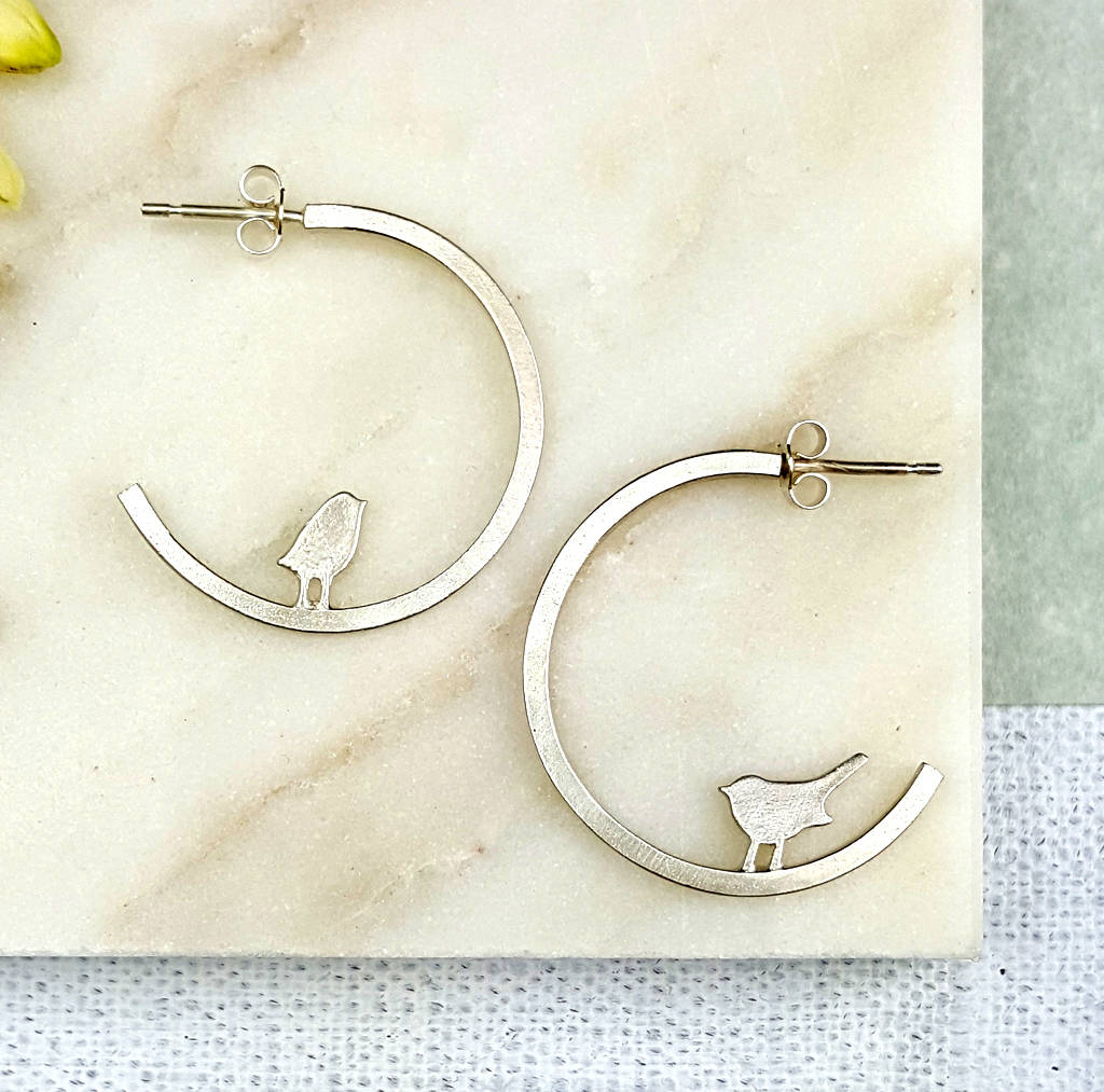 Mismatched Silver Hoop Studs With Tiny Birds By Shere