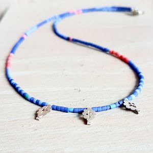 Indigo Beaded Charm Necklace