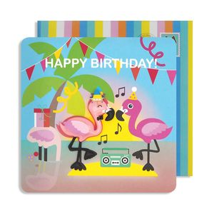 Birthday Flamingo Jelly Magnet Card