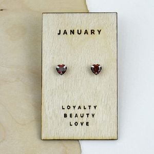 Birthstone Characteristics Heart Stud Earrings - for children