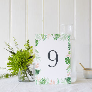 Greenery Wedding Table Numbers