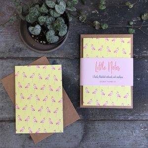 Set Of Six Flamingo Notecards