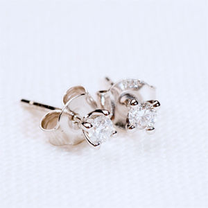 Solitaire Diamond Stud Earrings* - earrings