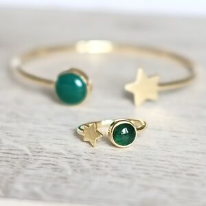 Gold Star And Birthstone Adjustable Ring