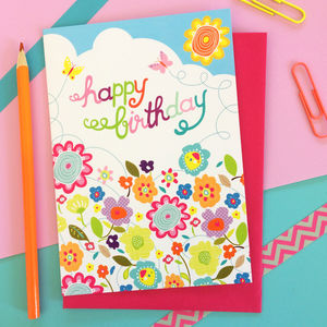 Floral Happy Birthday Card - gifts