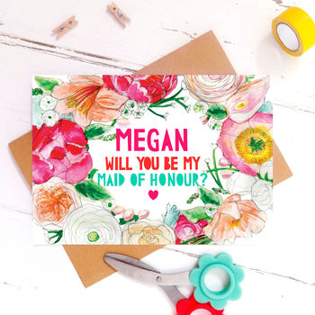Be My Maid Of Honour Personalised Card