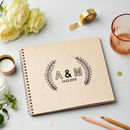 Personalised Wooden Botanical Leaf Wedding Guest Book