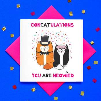 Funny Glitter Confetti Cat Wedding Card