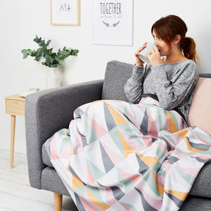 Geometric Pastel Print Personalised Throw Or Blanket