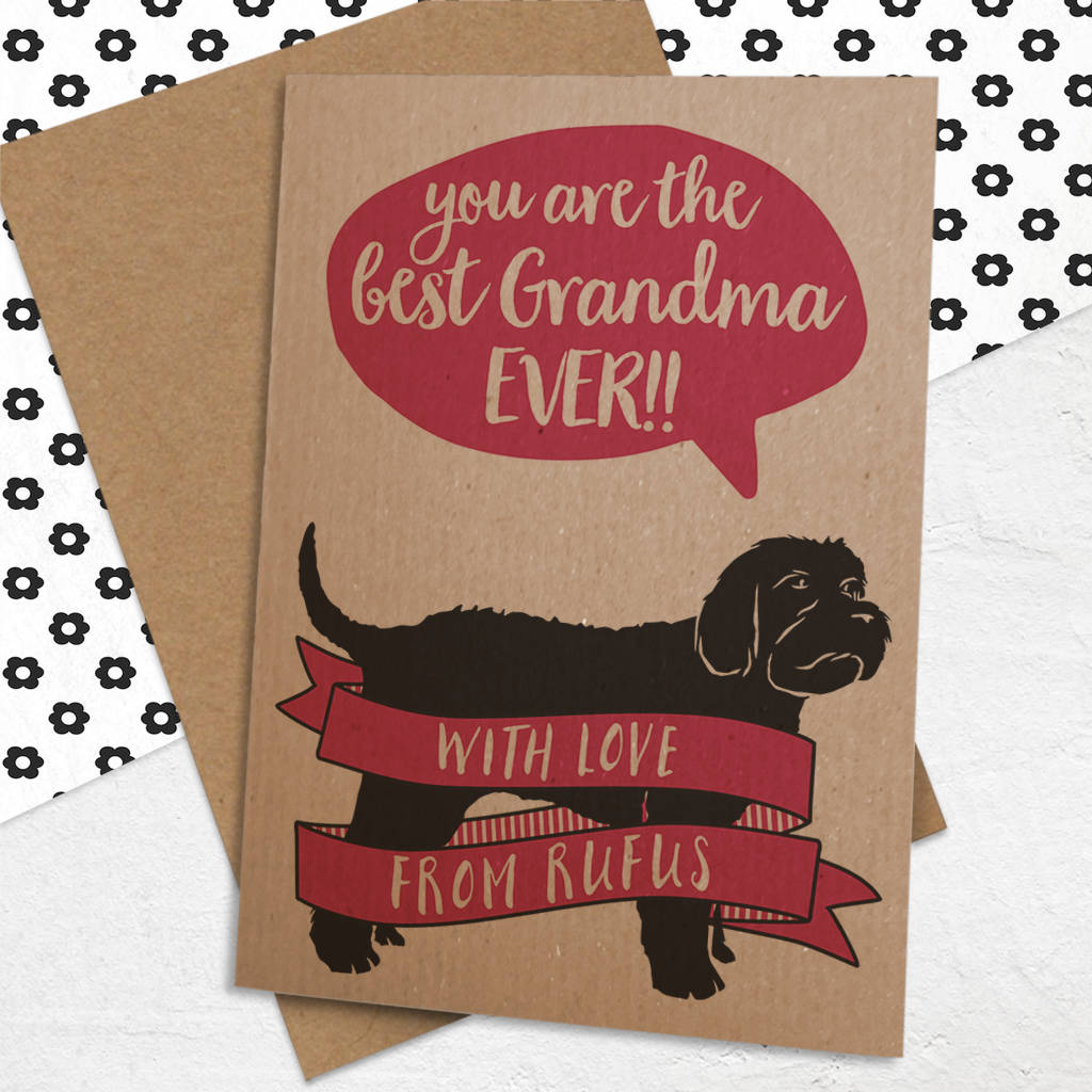 Best Grandma Nanny Nan Etc Card With Dog By Well Bred Design