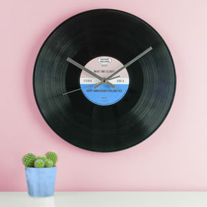 Personalised Vinyl Record Wall Clock - for him
