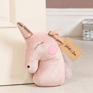 Personalised Elsa The Pink Unicorn Fabric Doorstop - new in home