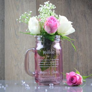Bridesmaid Thank You Personalised Flower Vase Jar
