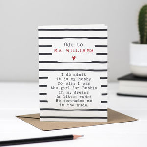 Robbie Williams Poem Card