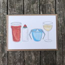 Beer, Bottle, Beaker And Wine New Baby Card