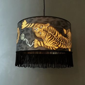 Tiger Lampshade With Gold Lining And Black Fringing