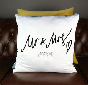 Wedding Personalised Mr And Mrs Cushion