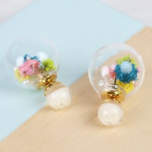 Flower Bead Double Ball Earrings - statement jewellery