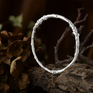 Sterling Silver Twig Bangle, Custom Size And Twig