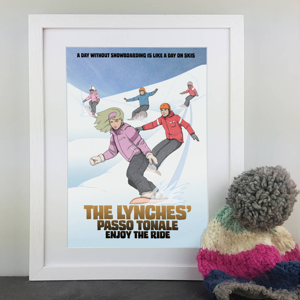 personalised family snowboarding comic book style print by cuddle ...