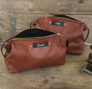 Personalised Leather Tan Wash Bag