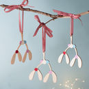 Wooden Mistletoe Tree Decoration For Christmas