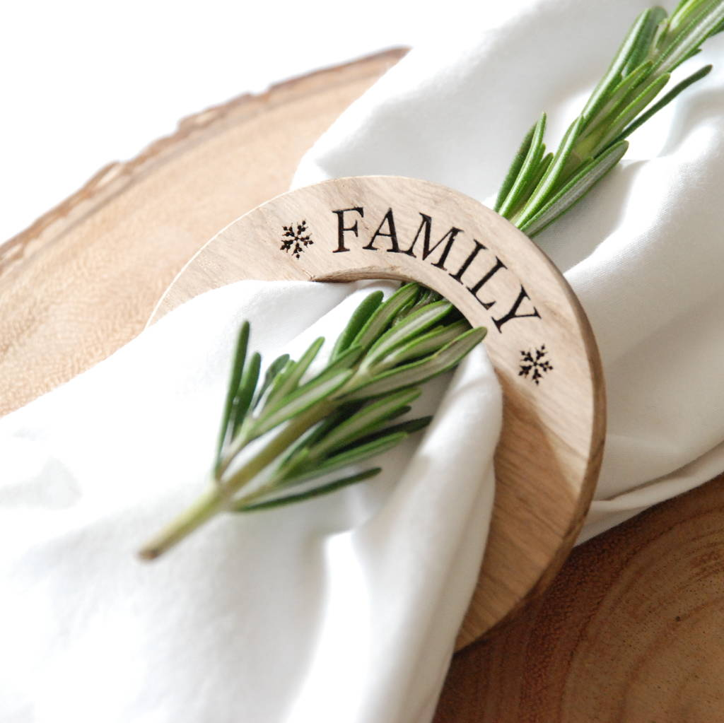 Personalised Christmas Oak Napkin Ring