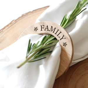 Personalised Christmas Oak Napkin Ring - table decorations