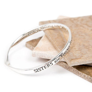 Silver Plated Sisters Message Bangle