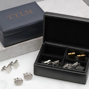 Personalised Intials Leather Cufflink Box
